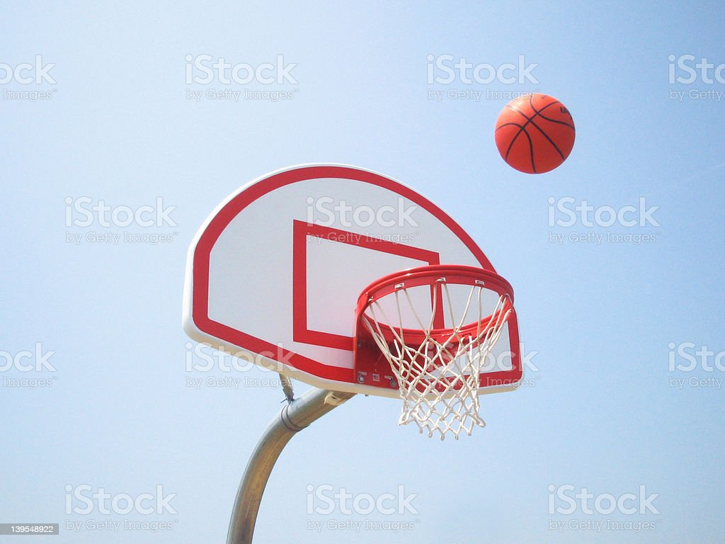 Basketball hoop and ball royalty-free stock photo