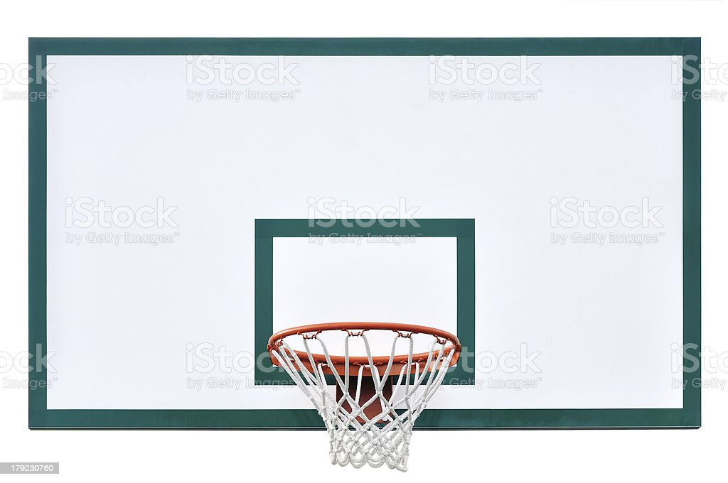 Basketball hoop cage, isolated large backboard closeup, new royalty-free stock photo
