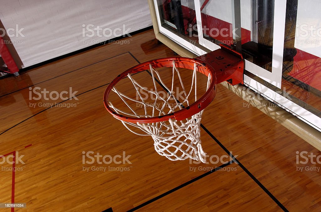 Basketball hoop from above stock photo