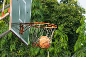 Basketball hoop in park