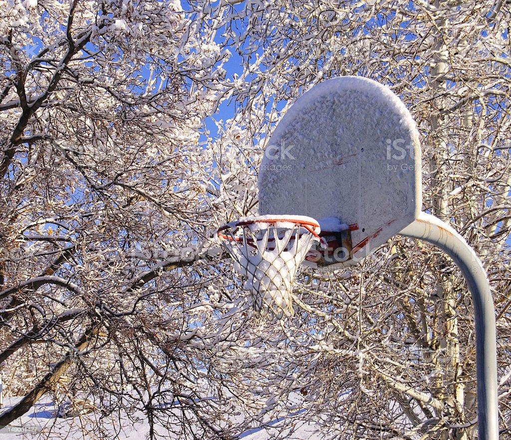 Basketball Hoop in Winter stock photo
