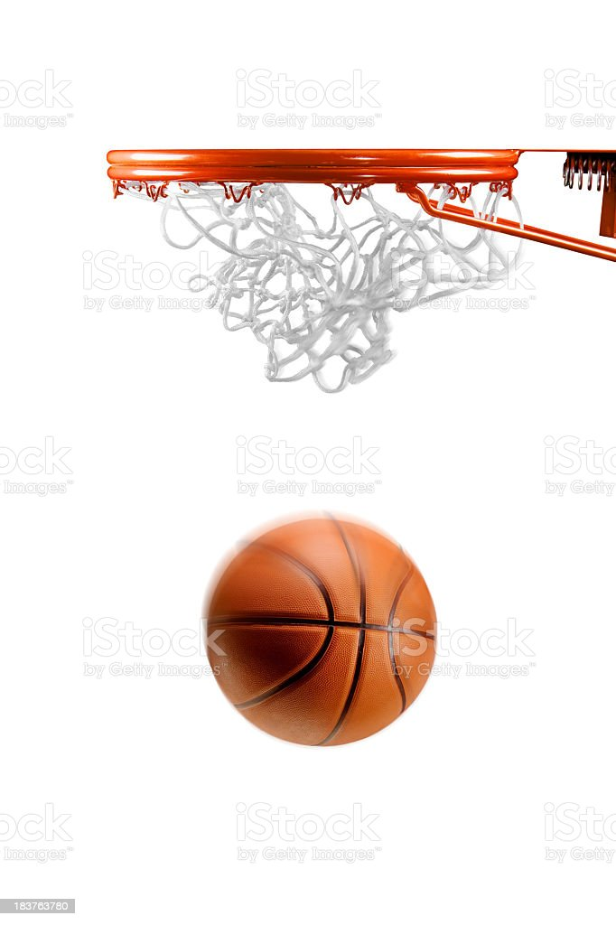 Basketball hoop net and ball on white royalty-free stock photo