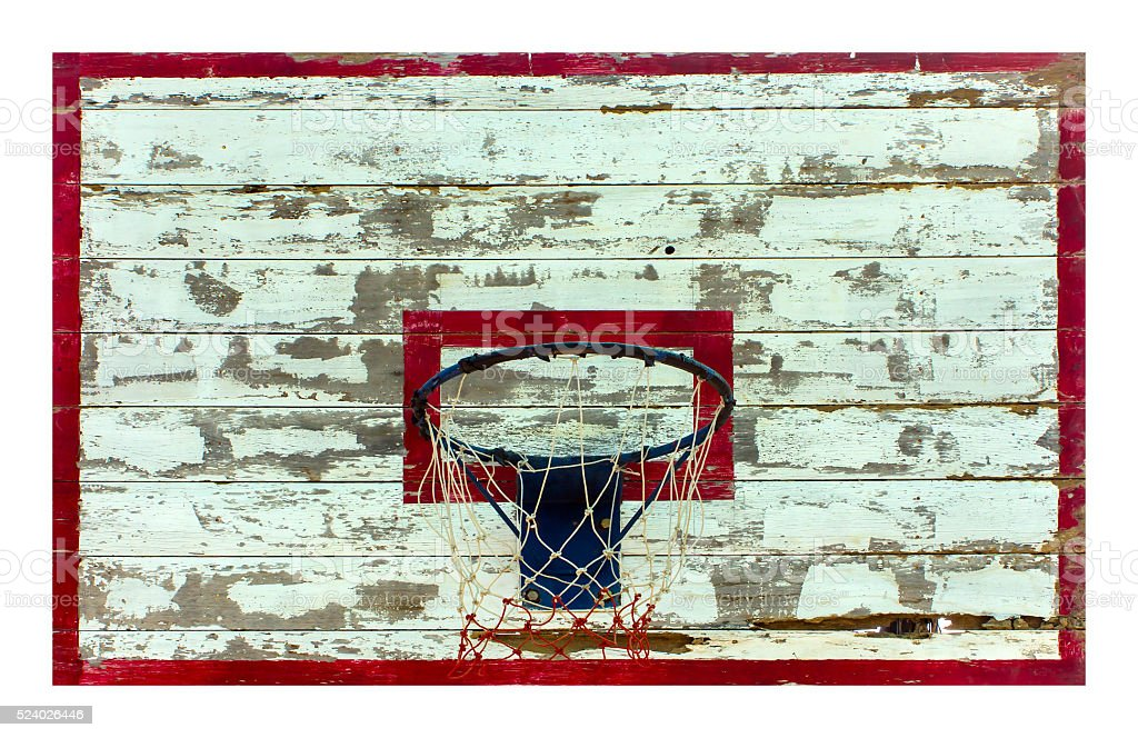 basketball hoop Old outdoor isolated background white. stock photo