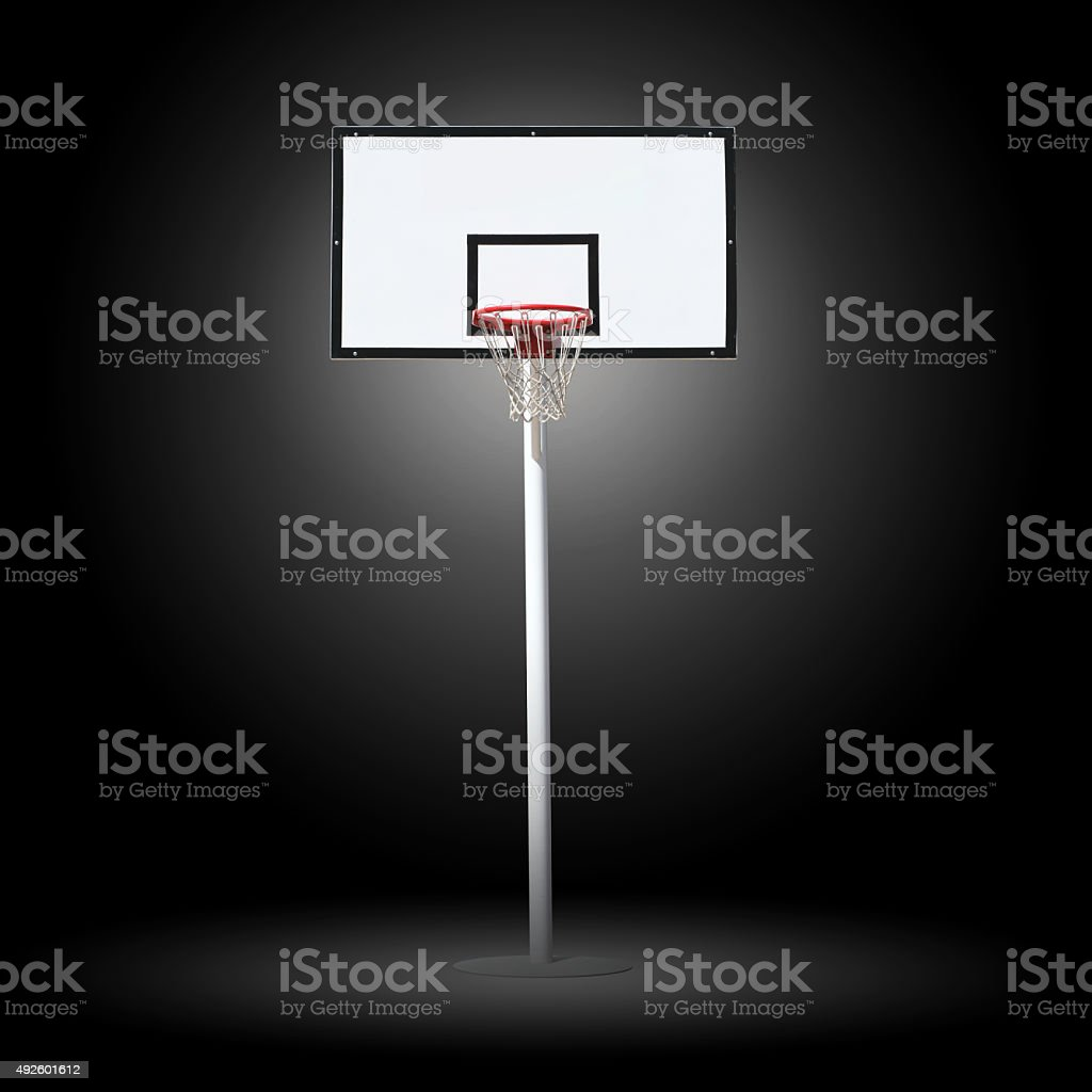 Basketball hoop on a black background. stock photo
