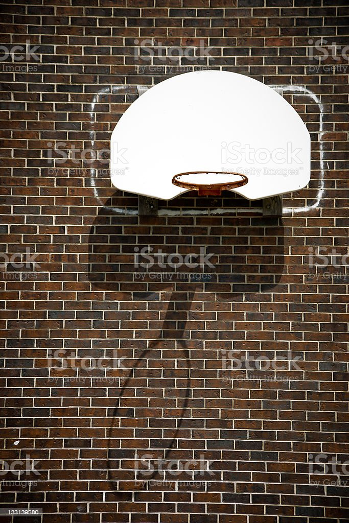Basketball Hoop on Brick Wall royalty-free stock photo