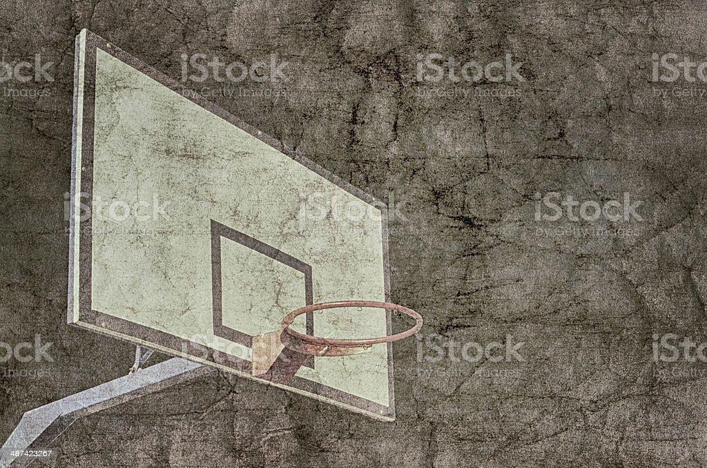 Basketball hoop overlaid with grunge texture. stock photo