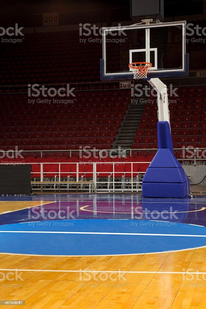 Basketball hoop wide angle view stock photo