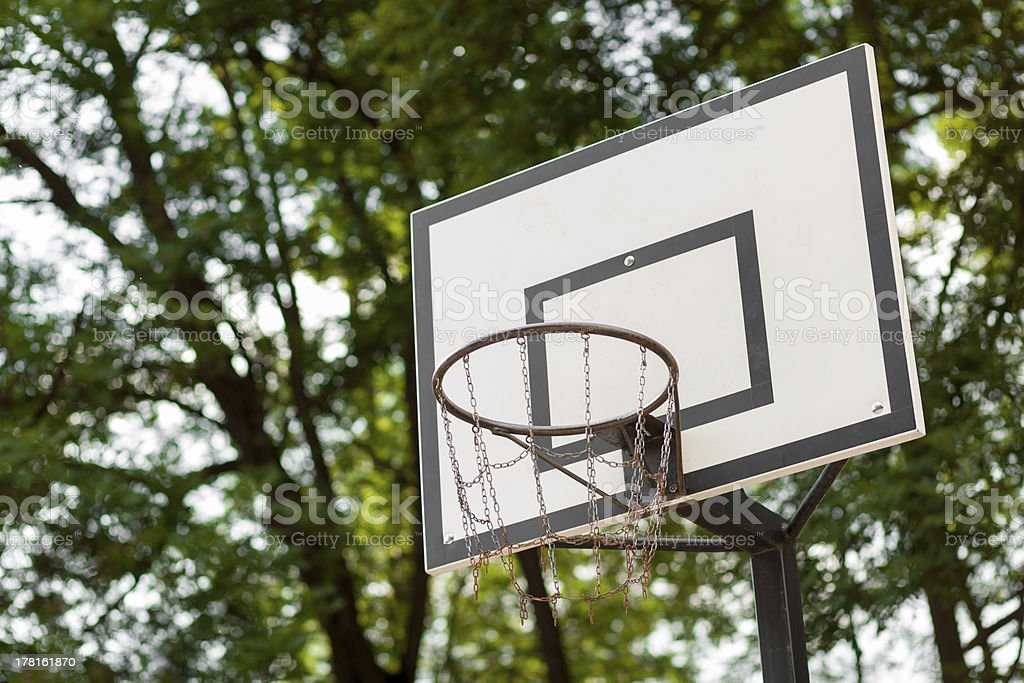 Basketball hoop with metal net royalty-free stock photo