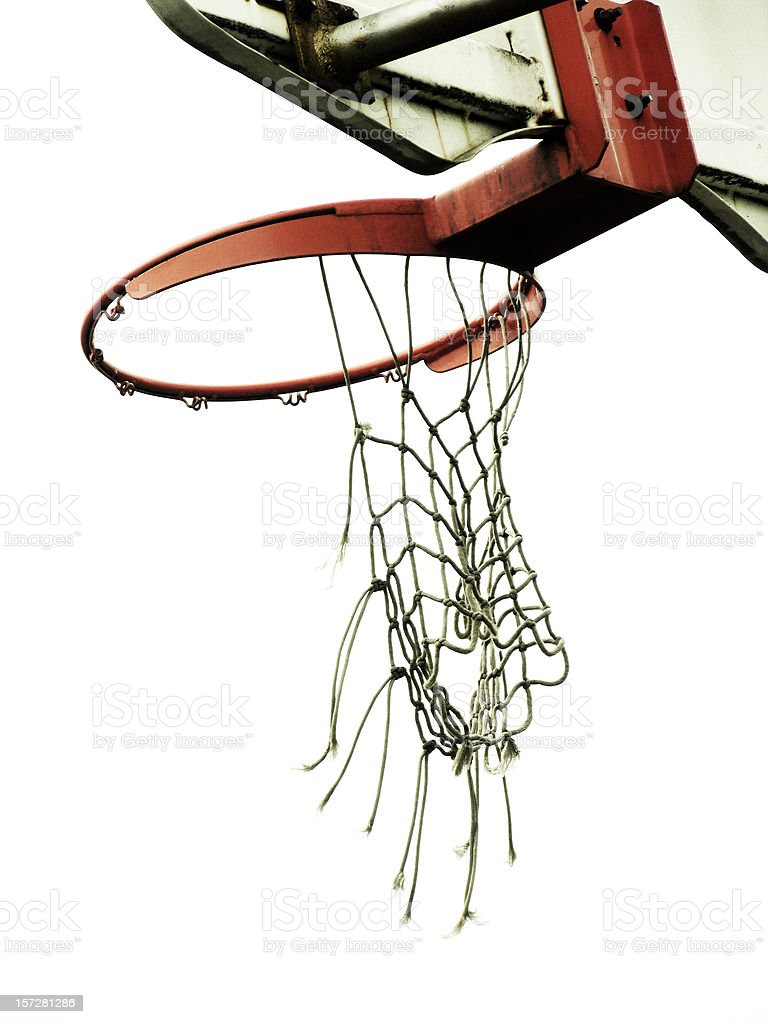 Basketball Hoop with Torn Net royalty-free stock photo