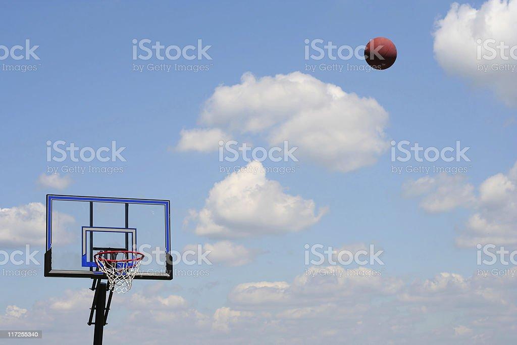 Basketball in flight stock photo