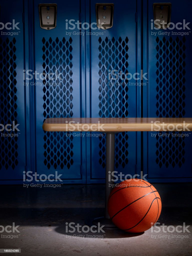 Basketball in Locker Room stock photo