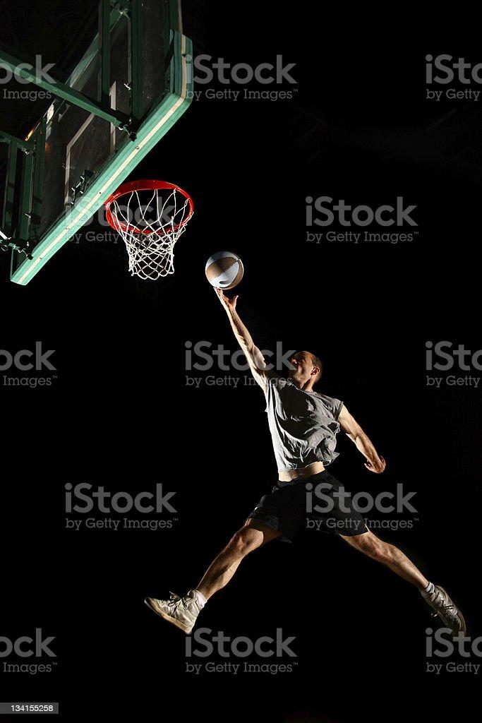 Basketball jump isolated on black background stock photo