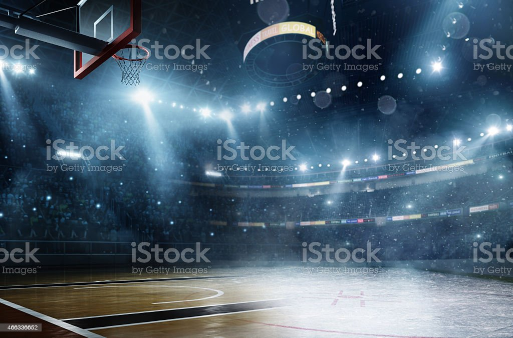 Basketball meets ice hockey stock photo