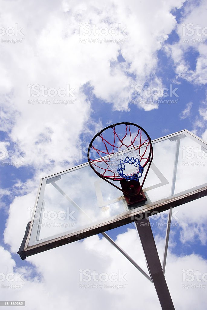 basketball net and backboard against bright sky stock photo
