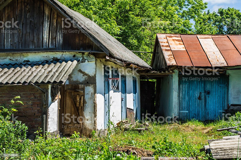 basketball net in the abandoned village stock photo