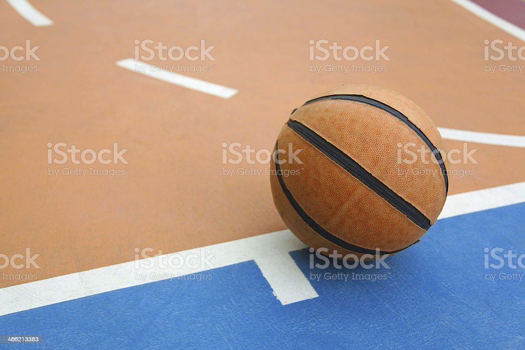 basketball on a court royalty-free stock photo