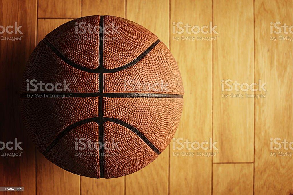 basketball on court stock photo