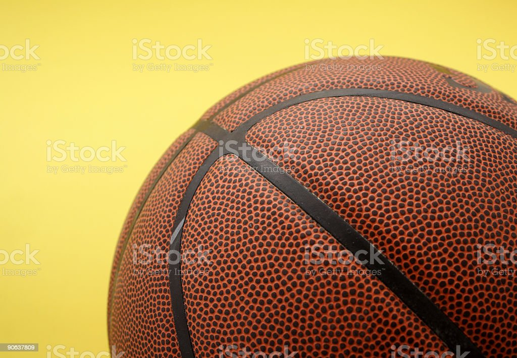 Basketball on court royalty-free stock photo