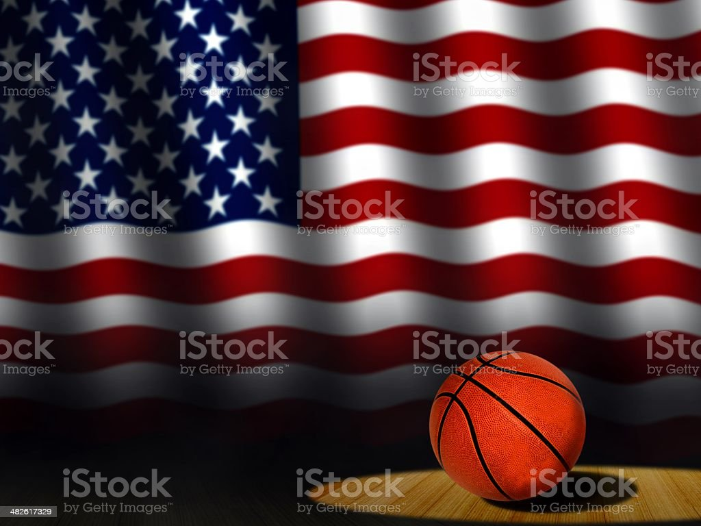 Basketball on Court with American Flag royalty-free stock photo