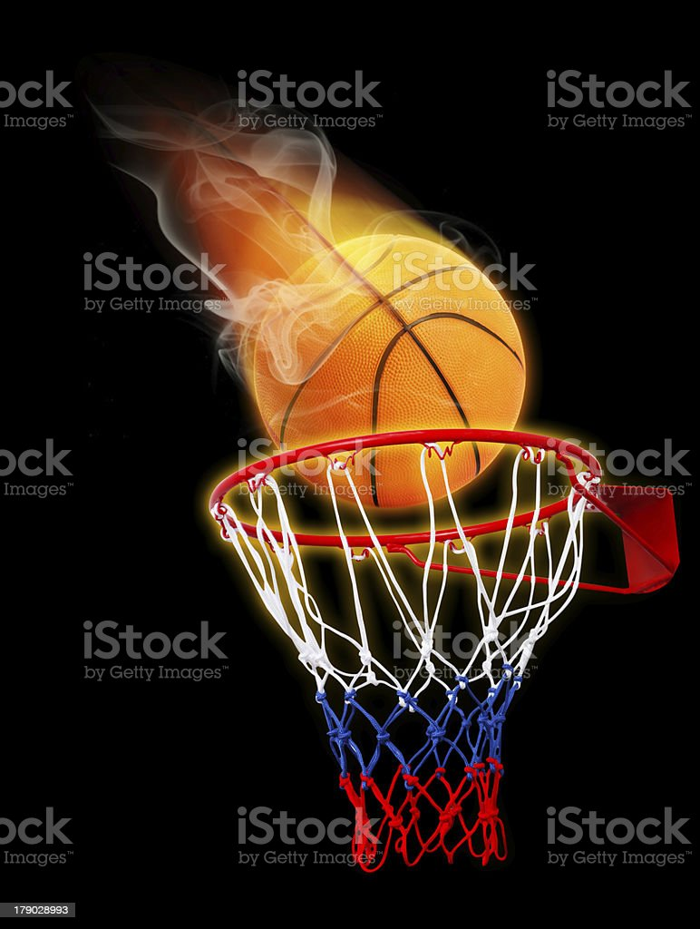 basketball on fire royalty-free stock photo