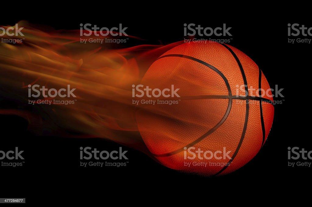 Basketball on Fire. stock photo