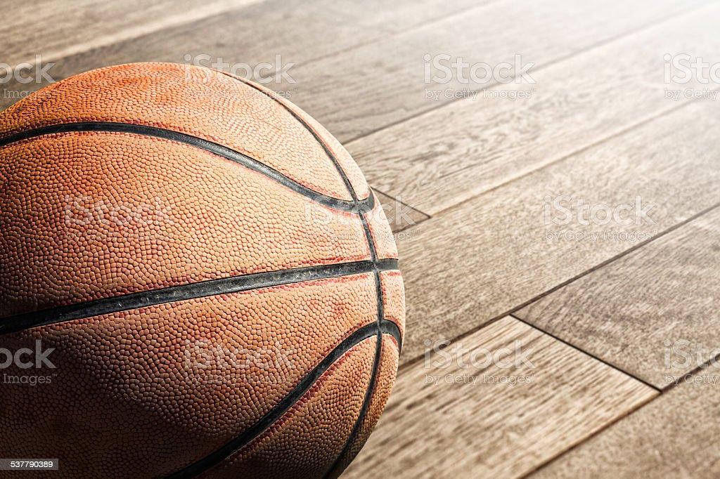 Basketball on the floor stock photo