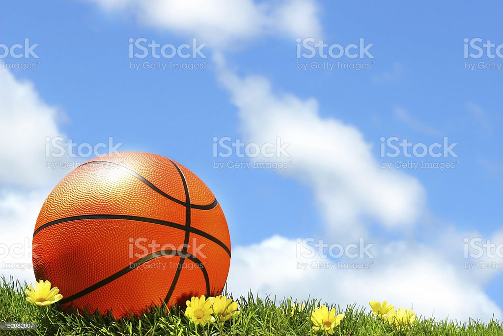Basketball on the grass stock photo