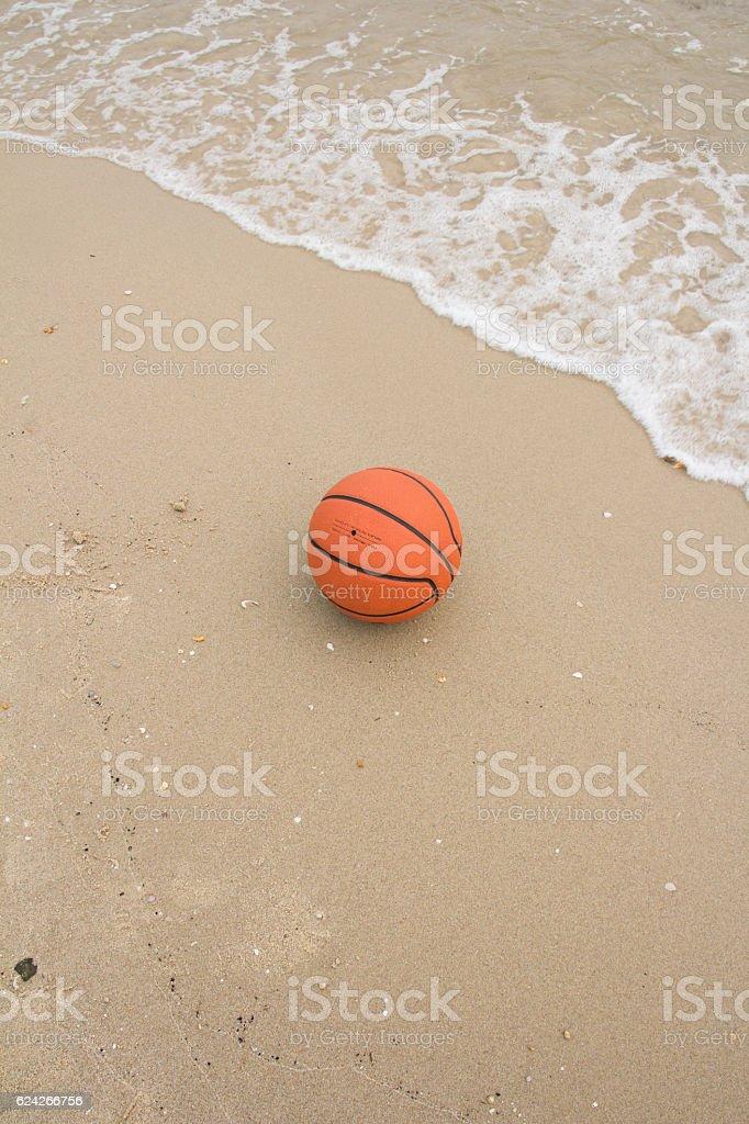 basketball ball on the beach