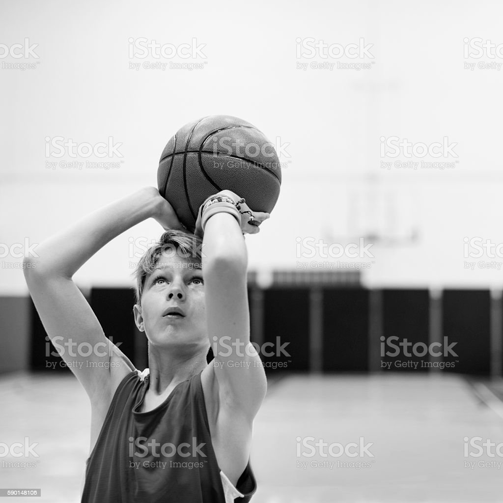 Basketball Player Athlete Exercise Sport Stadium Concept stock photo