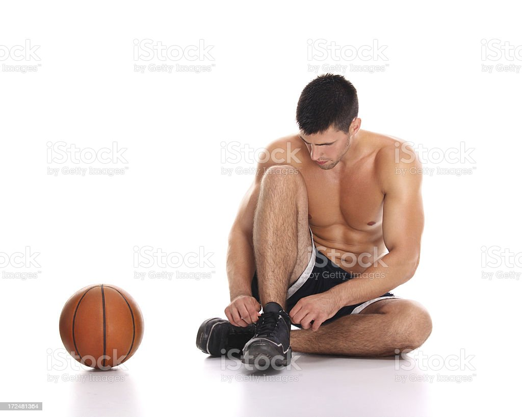 Basketball player getting ready. stock photo