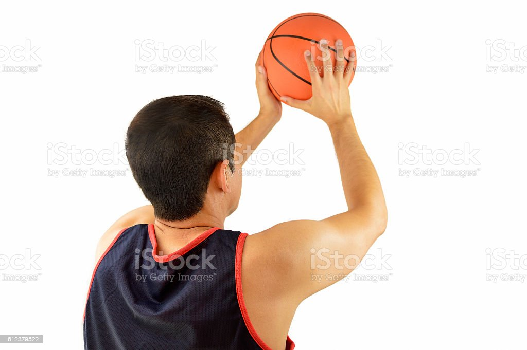 basketball player in free throw pose stock photo