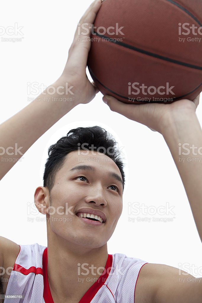 Basketball Player Lining Up His Shot royalty-free stock photo
