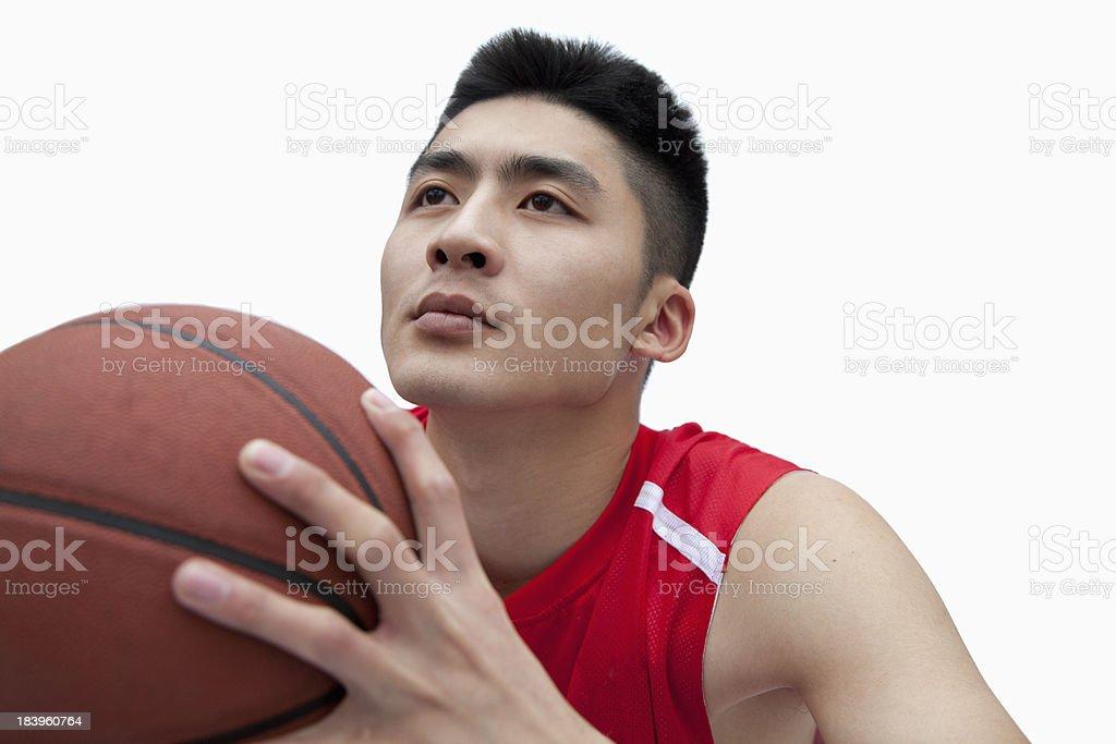Basketball Player Lining Up His Shot royalty-free stock photo