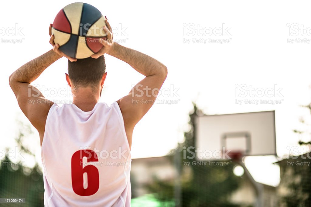 basketball player on the court stock photo