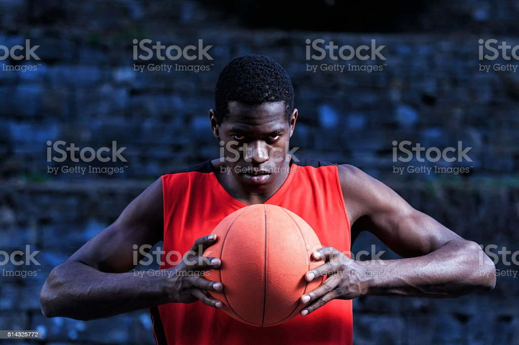 Basketball player ready to play stock photo