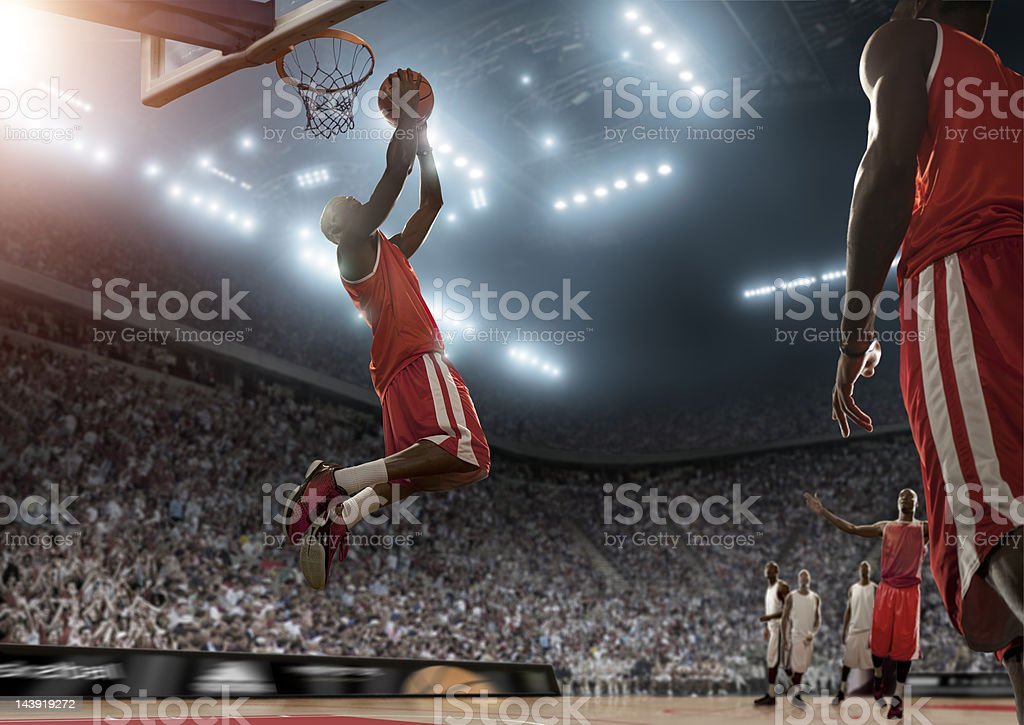 Basketball Player Scores During Game stock photo