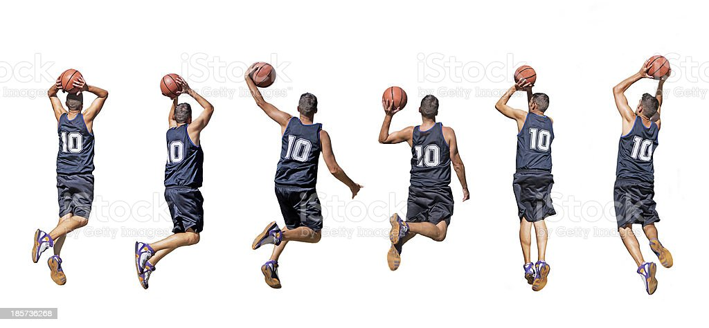 basketball player silhouettes stock photo
