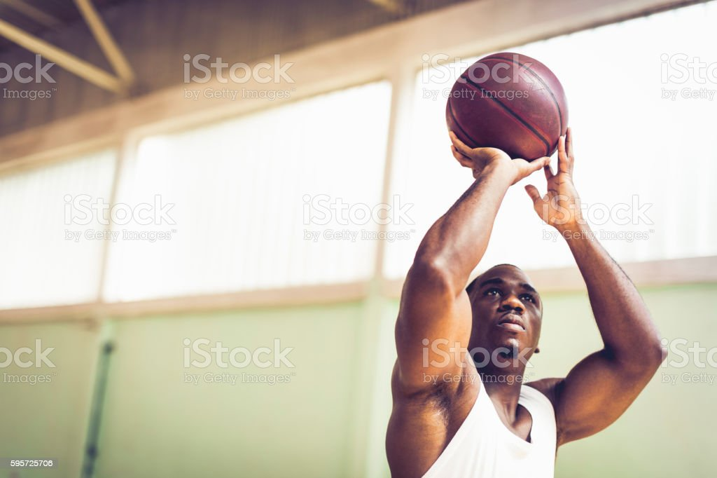 Close up of a basketball player shooting hoops