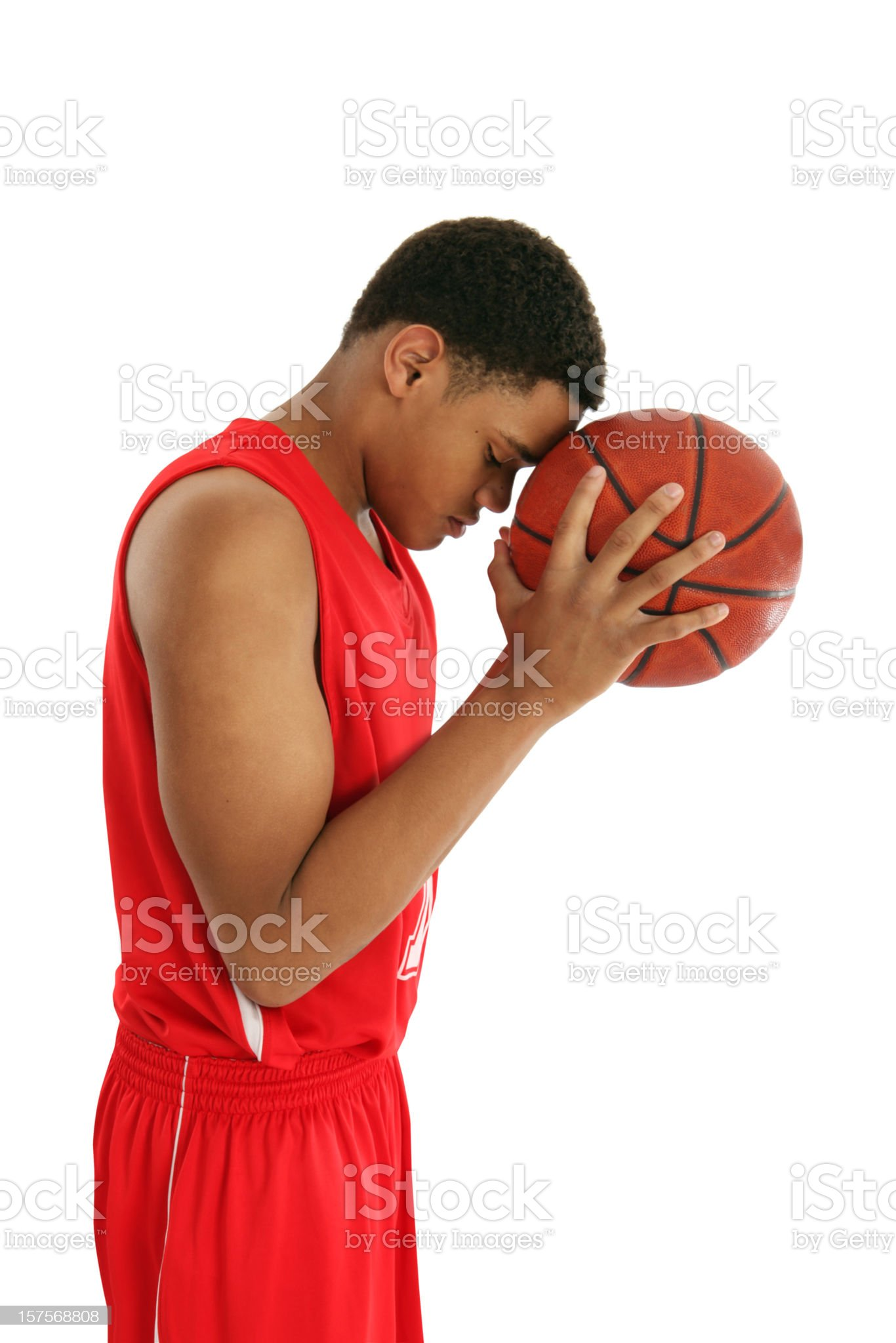 Basketball Player Thinking Before Shooting royalty-free stock photo