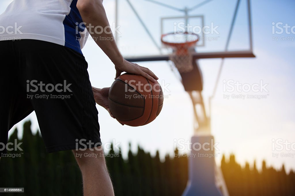 Basketball player training on the court. concept about basketball and...