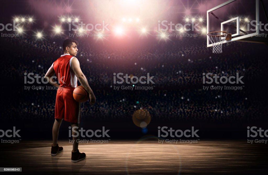 Basketball player with ball stock photo