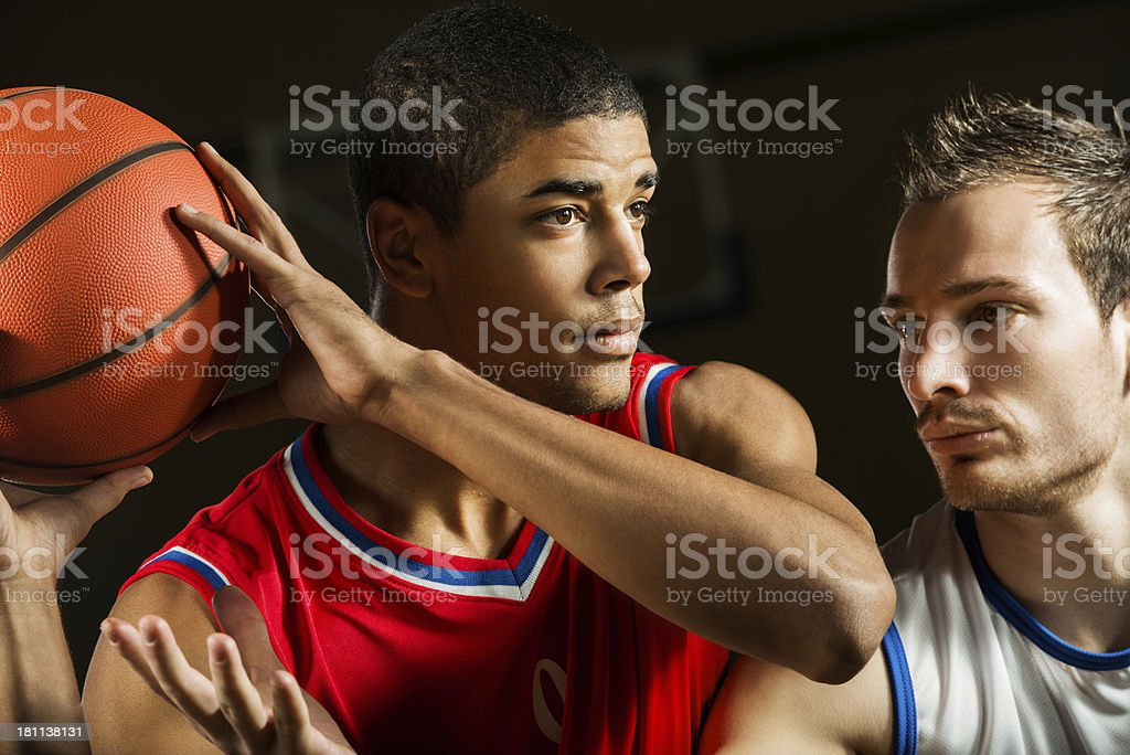 Basketball players in action. royalty-free stock photo