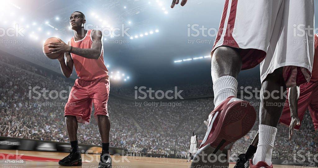 Basketball Players Taking Aim royalty-free stock photo