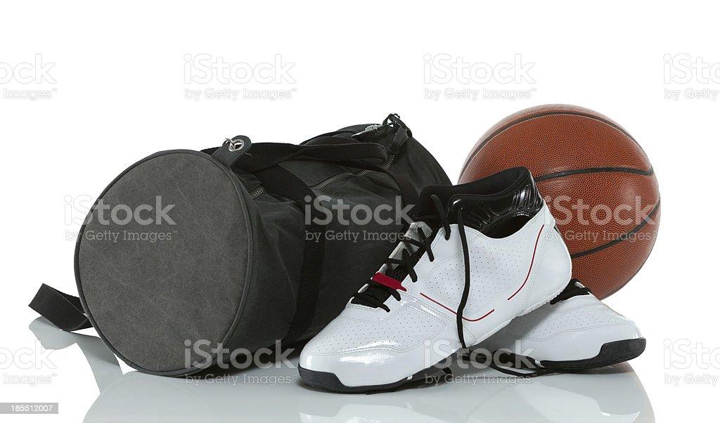 Basketball, Shoes and Gym Bag stock photo