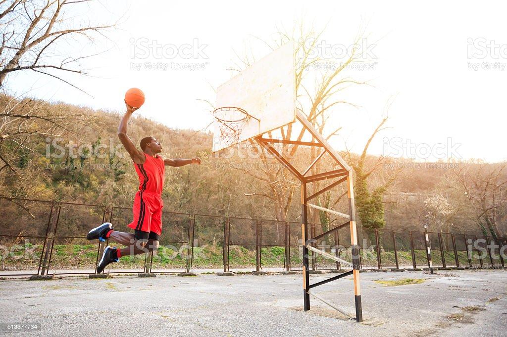 Basketball Slam Dunk Jump stock photo