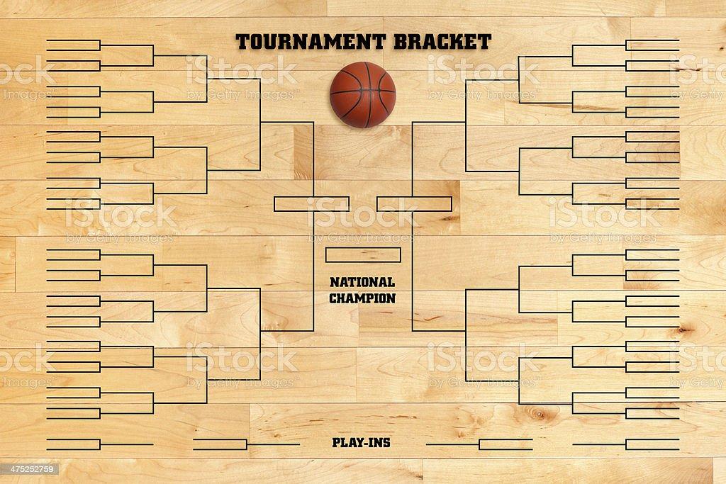 Basketball tournament bracket on wood gym floor royalty-free stock photo