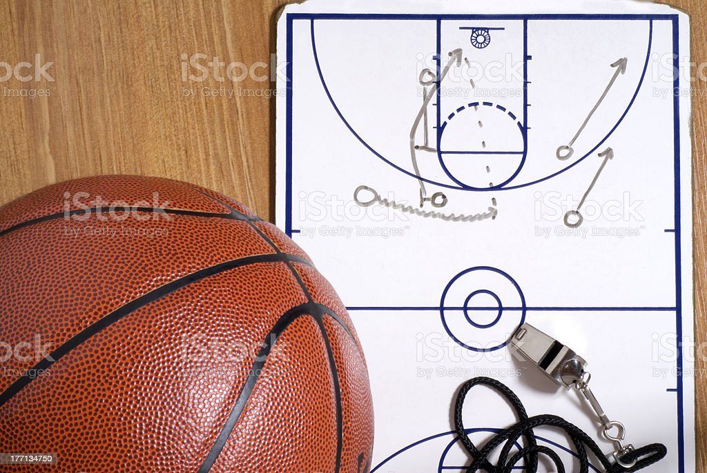 Basketball, Whistle and Clipboard with Alley-oop Play royalty-free stock photo