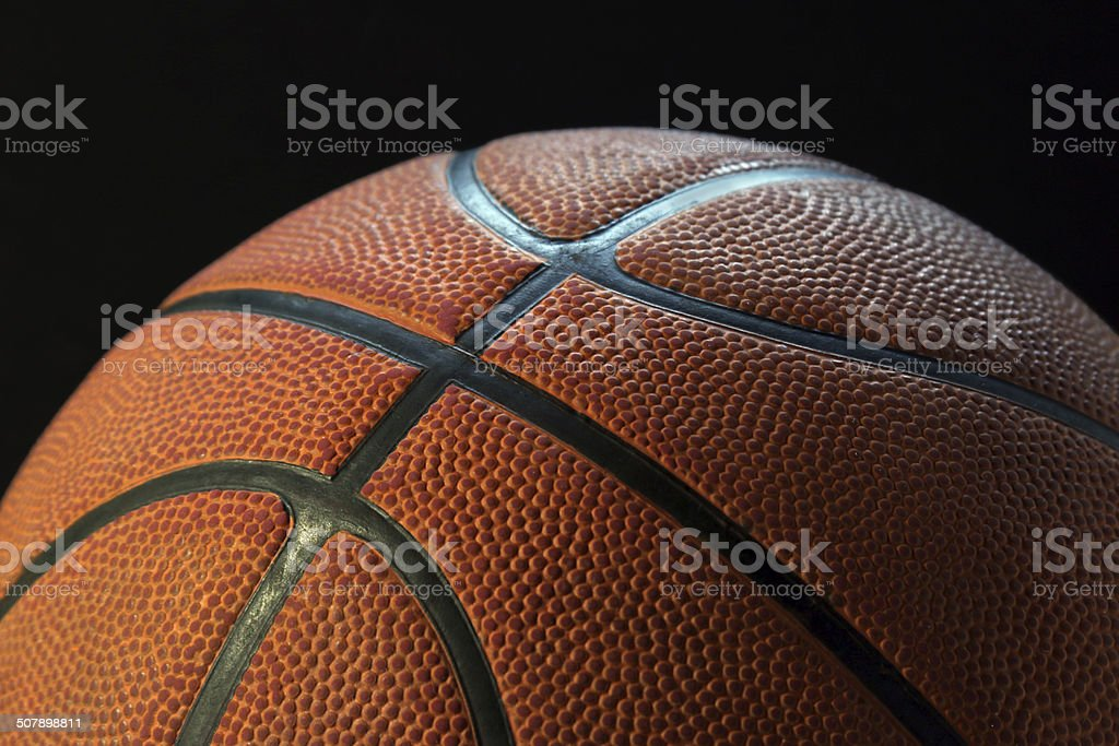Basketball with black background - horizontal stock photo