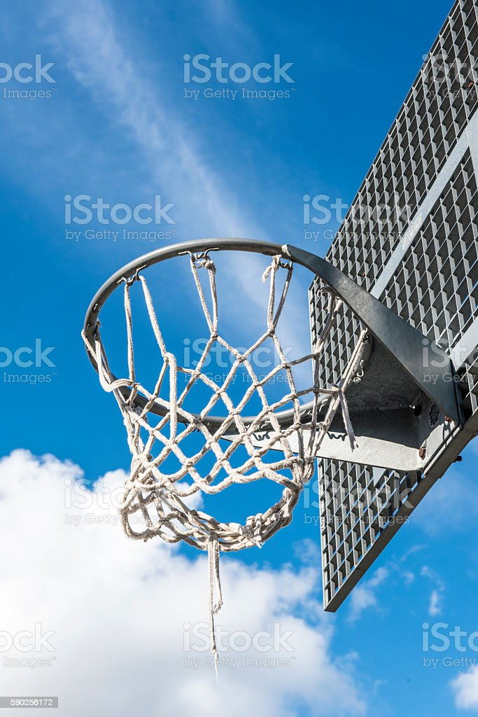 basketball with blue sky stock photo
