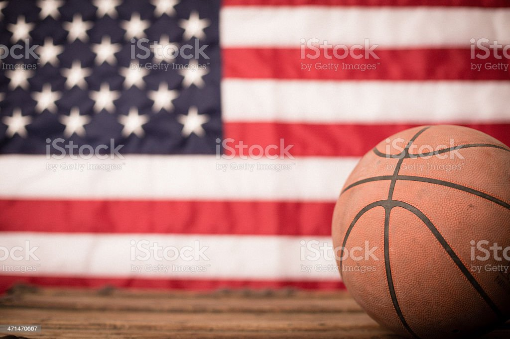 Basketball, With Flag Background and Copy Space royalty-free stock photo
